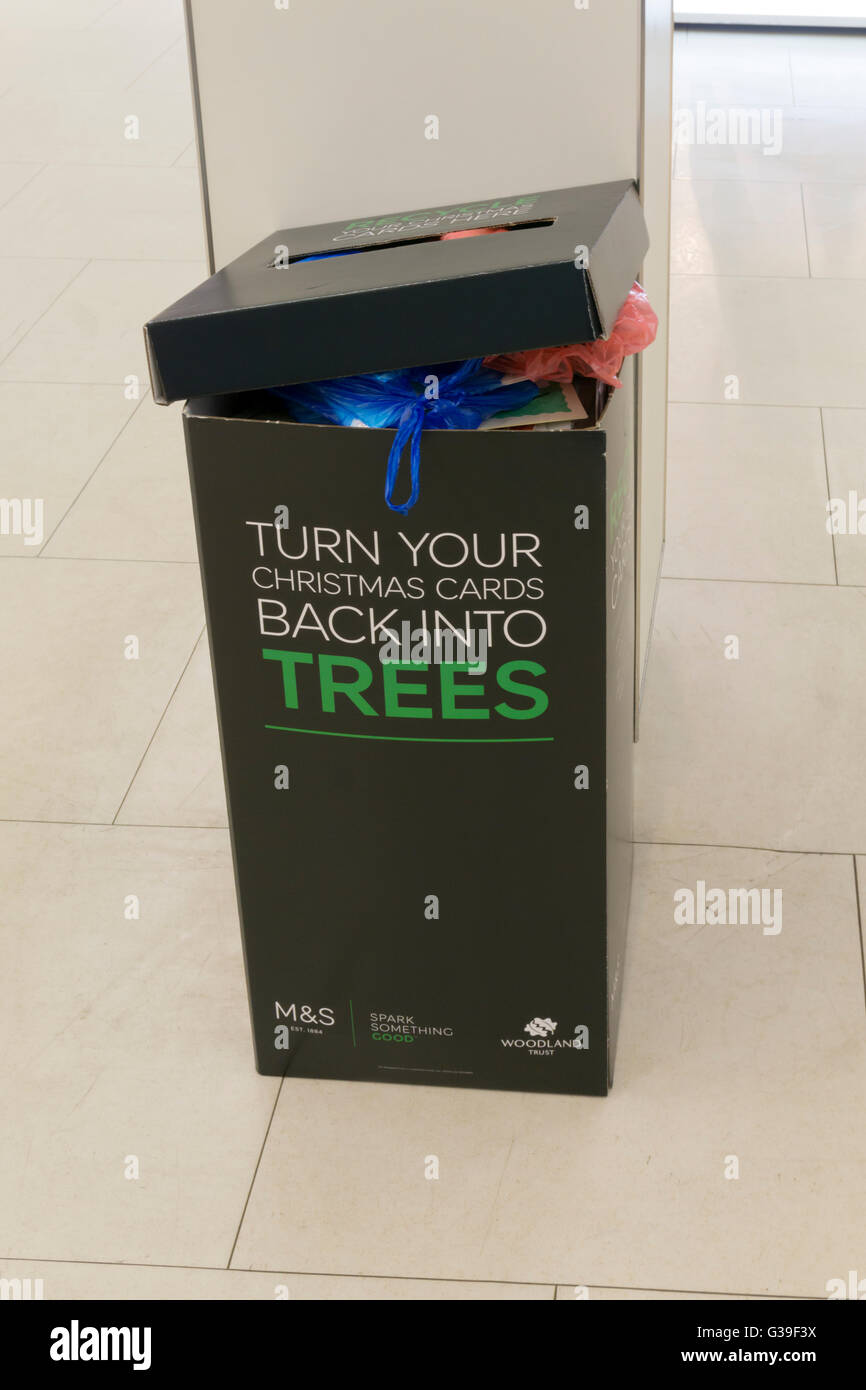 Recycling bin for Christmas Cards in Marks and Spencer shop, in aid ...