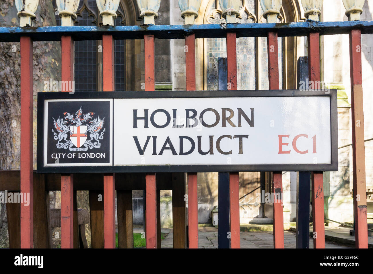 A street sign for Holborn Viaduct in the City of London. - Stock Image