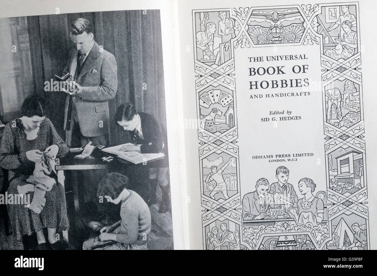The Universal Book of Hobbies and Handicrafts edited by Sid Hedges and published by Odhams Press in 1930s or 1940s. - Stock Image