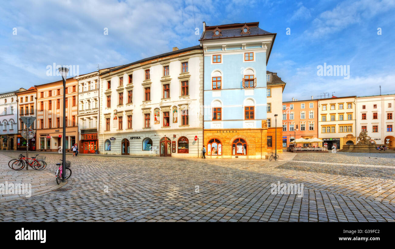 Main square in the old town of Olomouc, Czech Republic. HDR image. - Stock Image