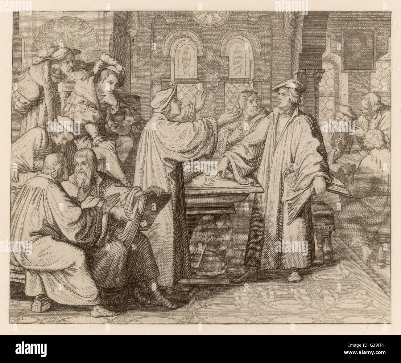 At Leipzig, in disputation  with Johann Eck, he denies the  supreme authority of popes and  councils       Date: - Stock Image