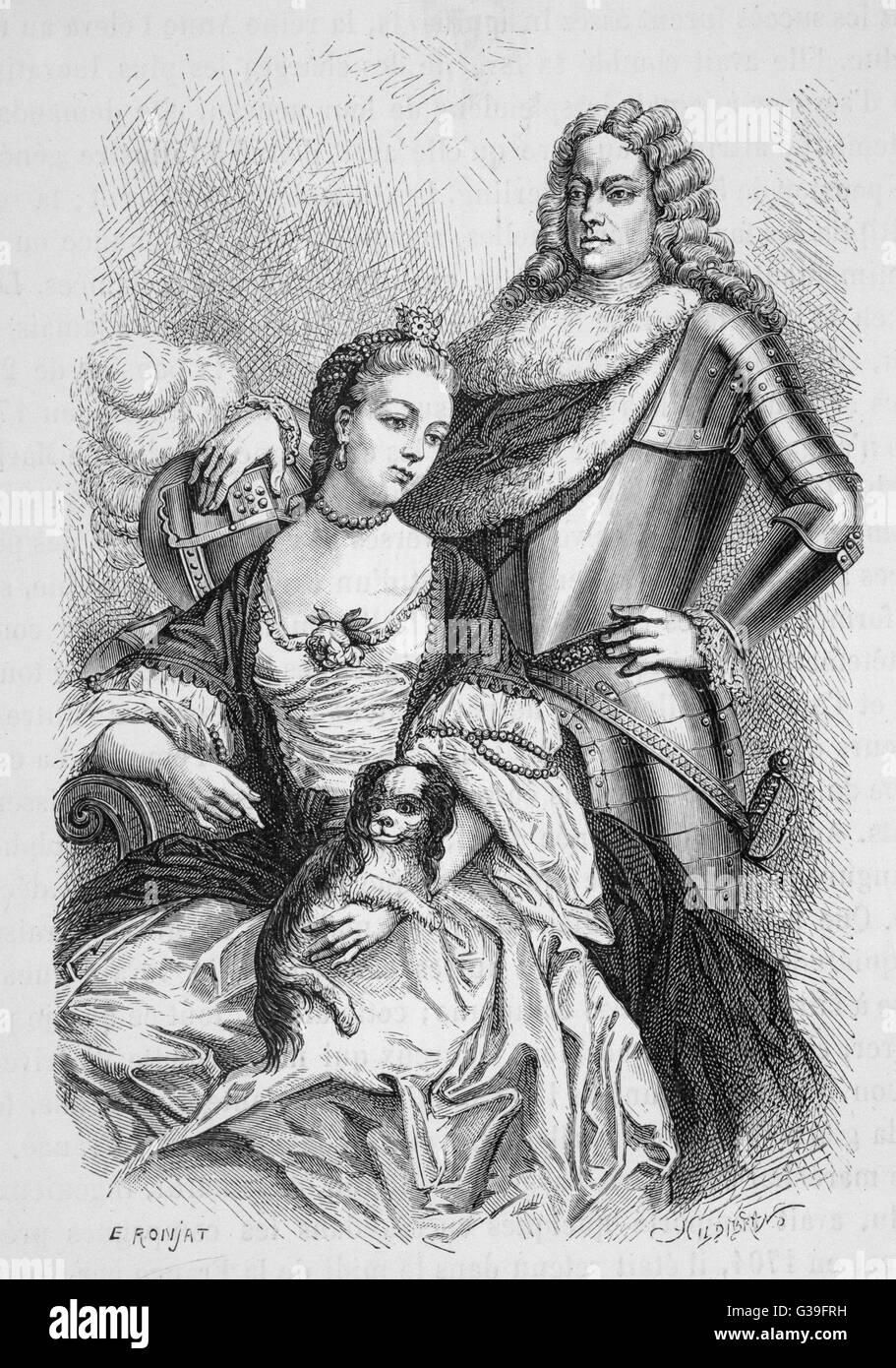 JOHN CHURCHILL  (with wife Sarah) Commander in  chief over the armies of  England and Holland in the War  of the - Stock Image