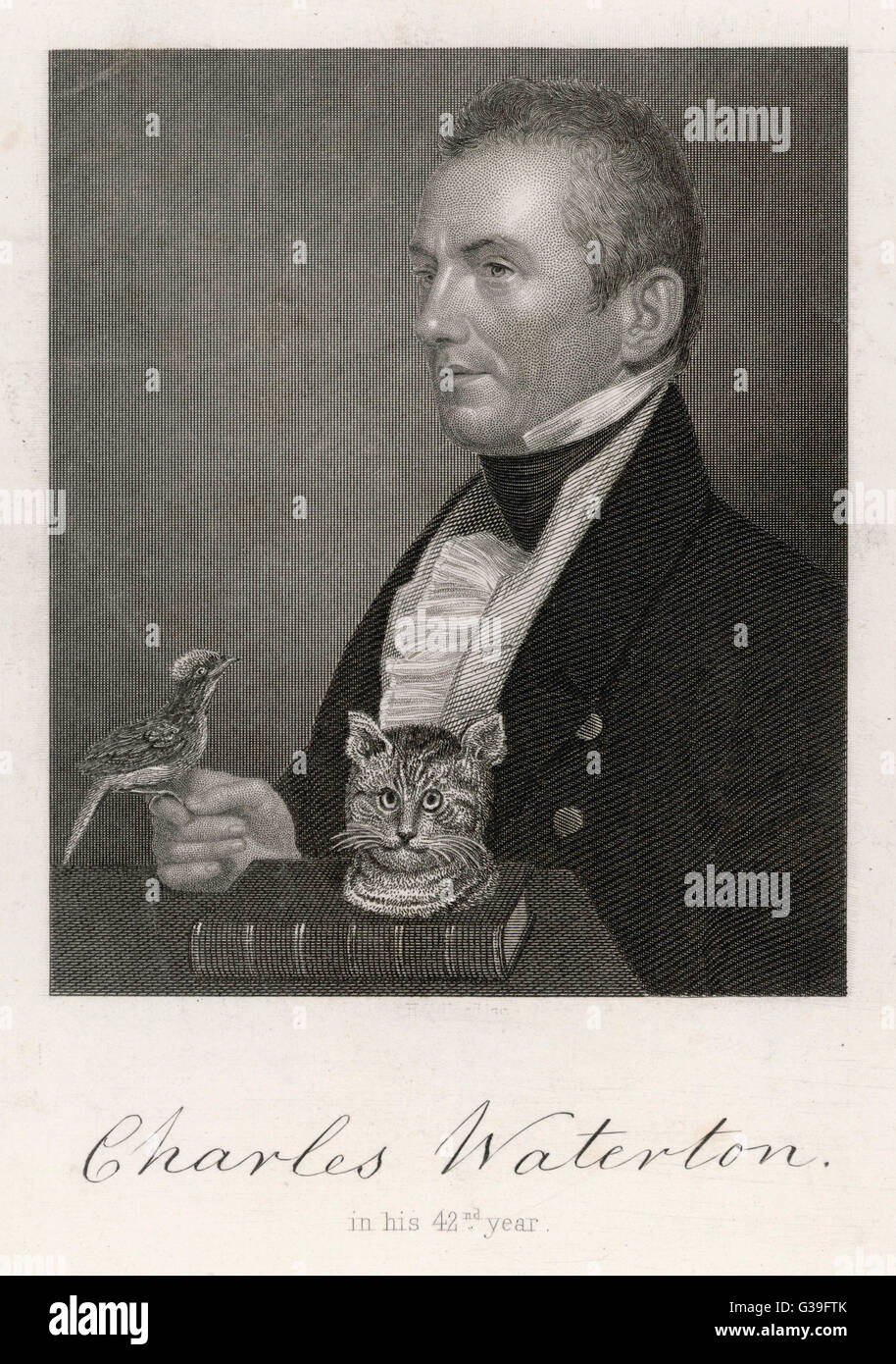 CHARLES WATERTON  naturalist, at age 42, holding a bird, with  a cat's head      Date: 1782 - 1865 - Stock Image