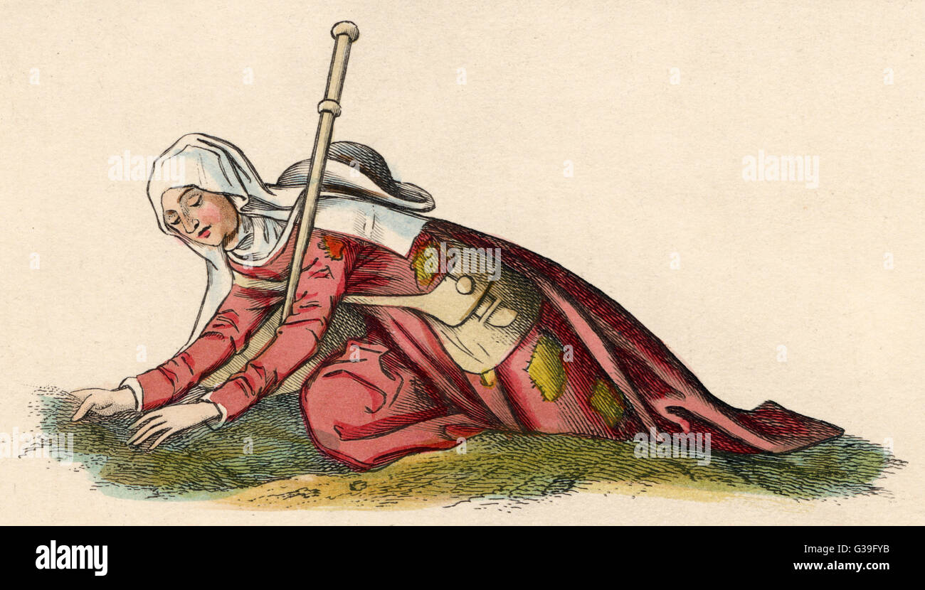 An Englishwoman  on a pilgrimage         Date: 15th century - Stock Image