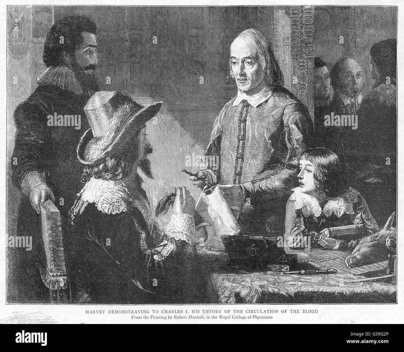 WILLIAM HARVEY explains his theory of the circulation of  the blood to king Charles I  whose physician he is.   - Stock Image