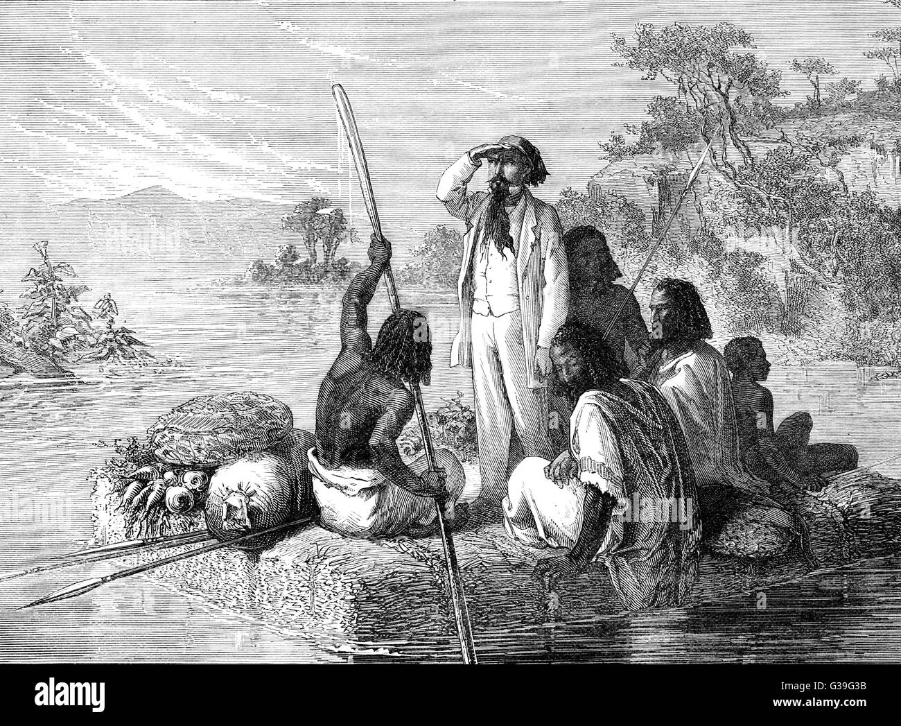 Lejean (1818-1872) accompanied  by locals on a raft, looks out  over an Abyssinian river - Stock Image
