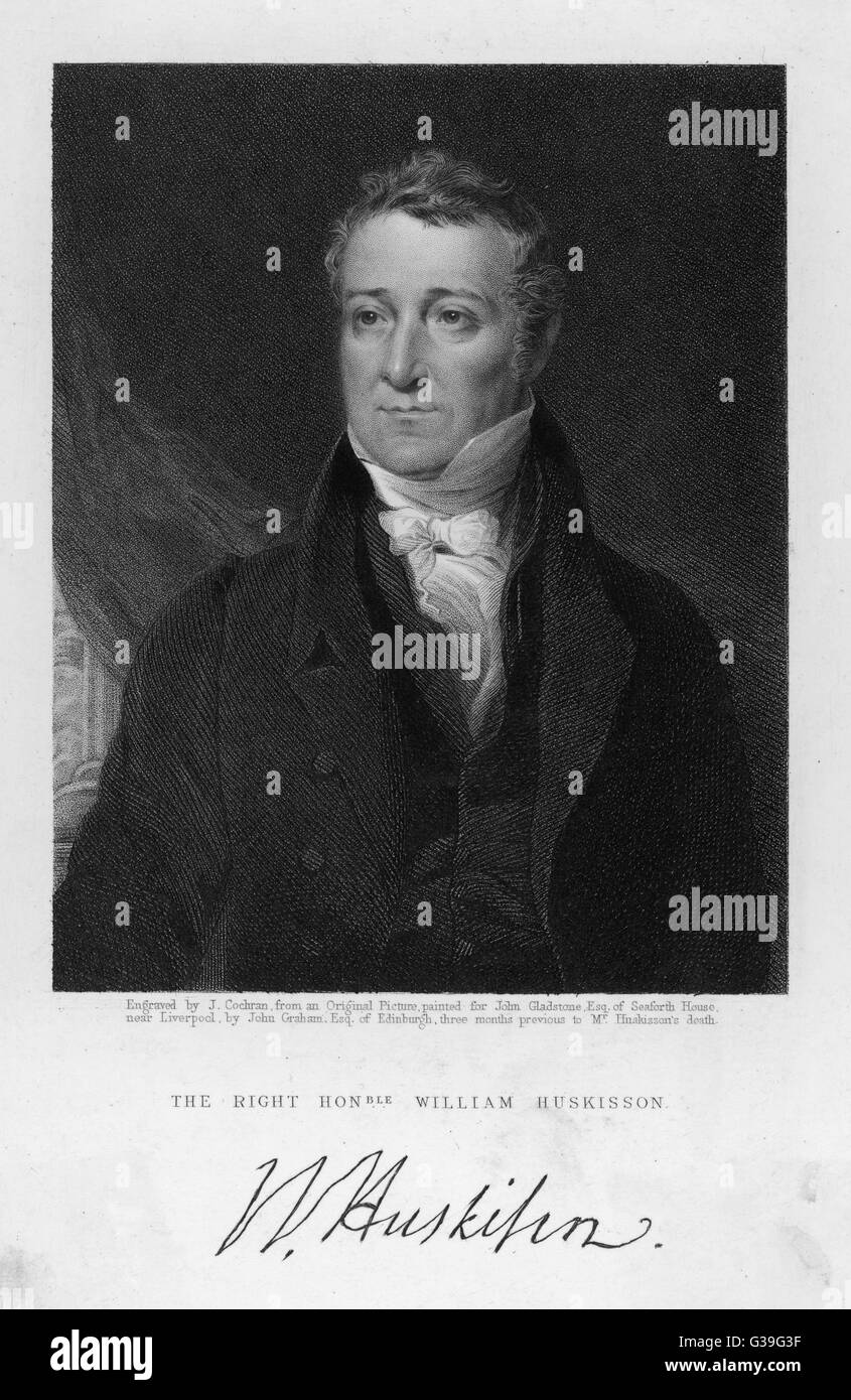 WILLIAM HUSKISSON  English Politician. Britain's  first Railway fatality when  he crossed in front of  Stephenson's - Stock Image