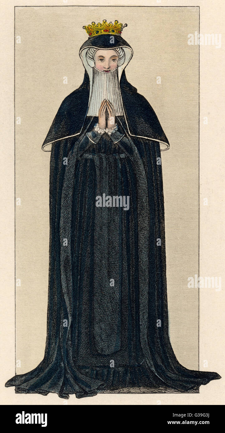 The mourning dress of  an English countess         Date: 16th century - Stock Image