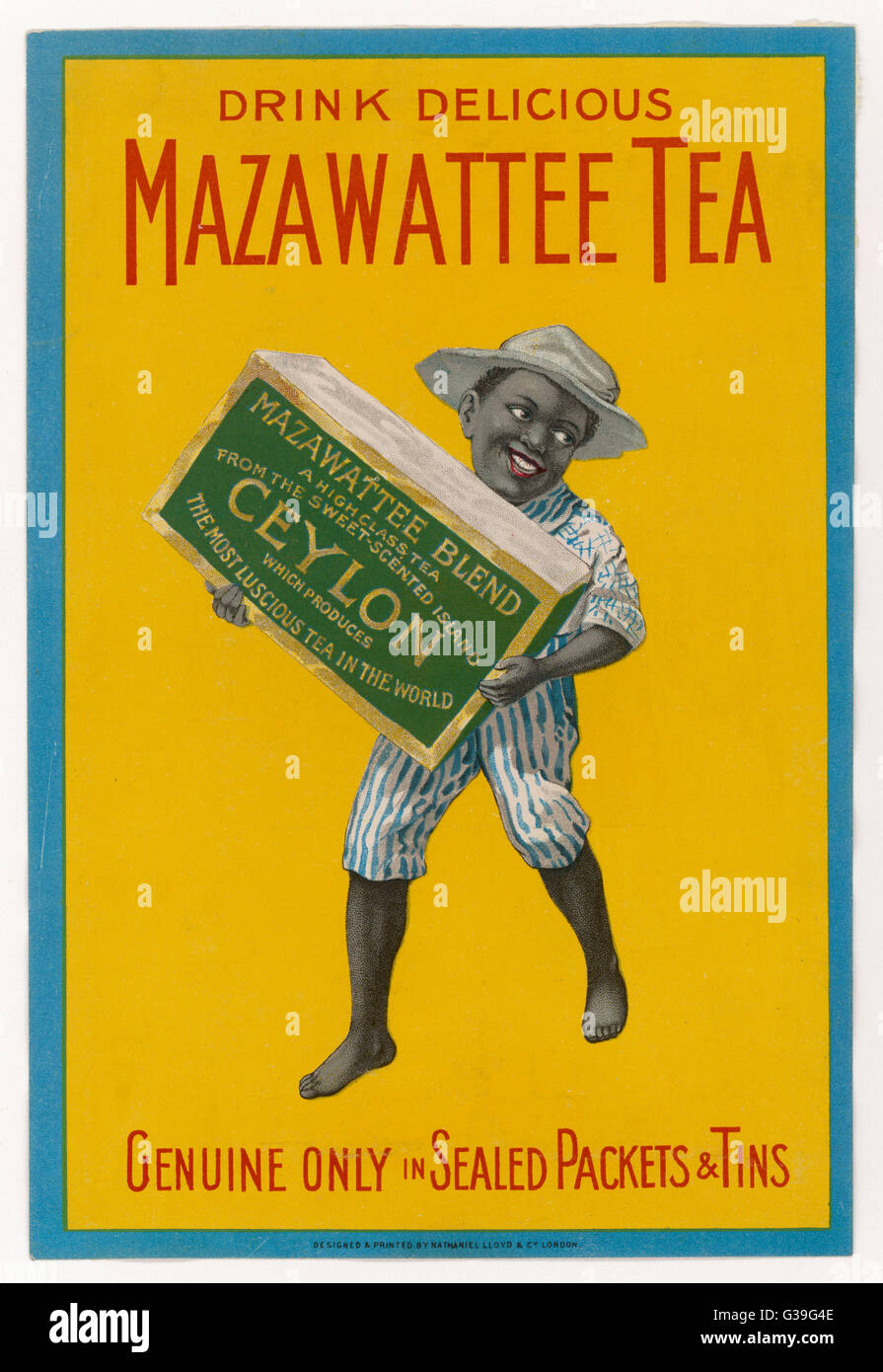 A small native boy holds a  huge packet of MAZAWATTEE,  delicious tea from Ceylon         Date: 1890s ? - Stock Image