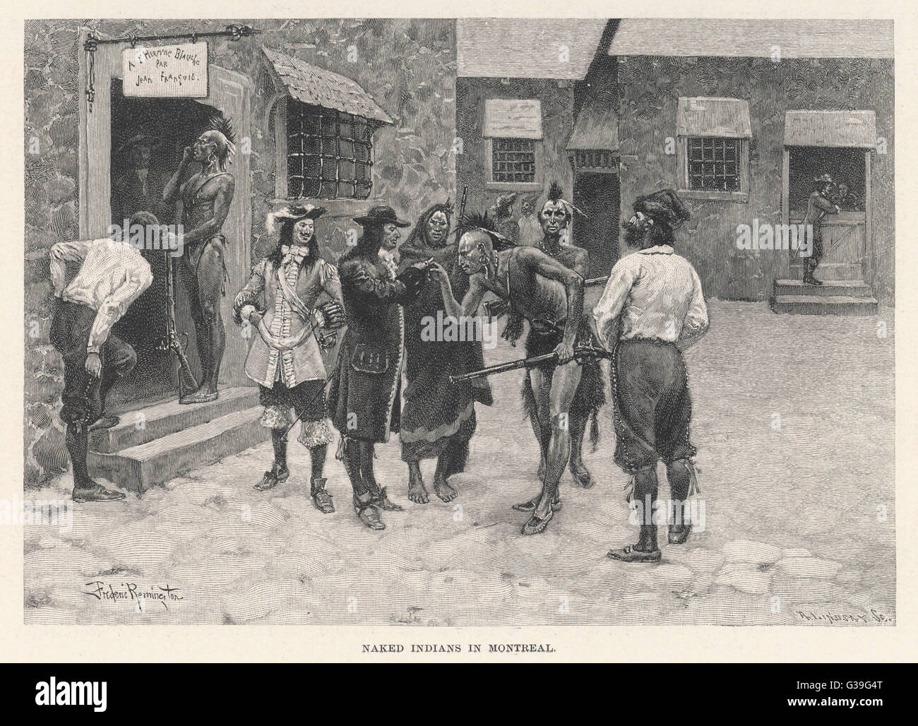 Native Canadians meet French  settlers with mutual  astonishment in the streets  of Montreal       Date: 17th century - Stock Image