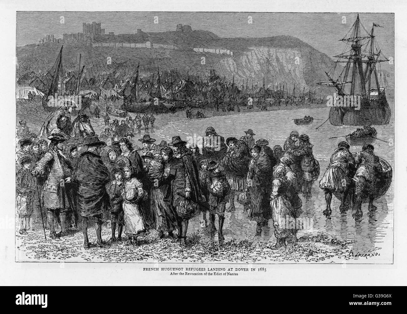 French Huguenots land at  Dover, fleeing to Britain when  Louis XIV revokes the Edict of  Nantes and sets out to - Stock Image