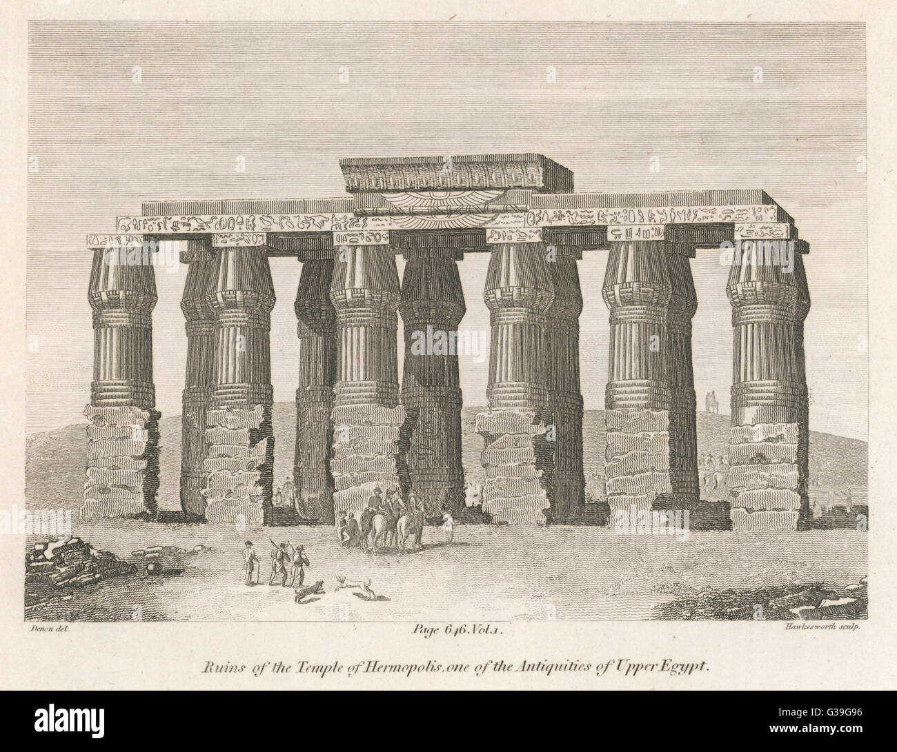 Ruins of the Temple of  Hermopolis, Upper Egypt, one  of the sites surveyed by the  French during Napoleon's - Stock Image