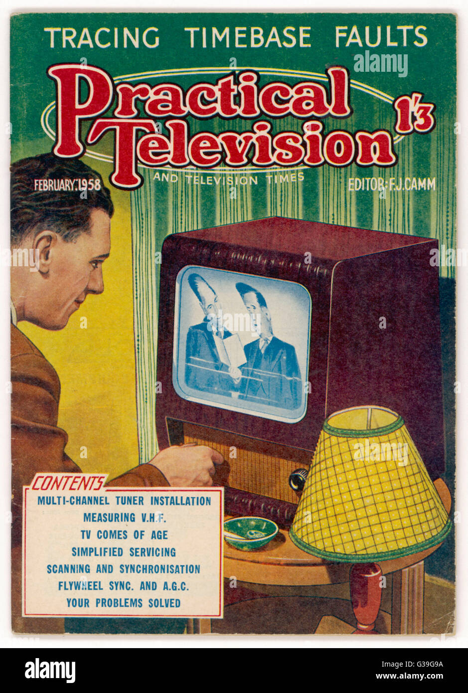 Adjusting an early television  set         Date: 1958 - Stock Image