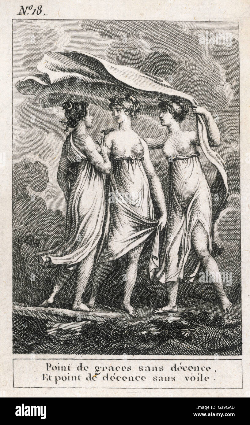 THE THREE GRACES 'There is no Grace without  Decency, and there is no  Decency without a Veil'       Date: - Stock Image