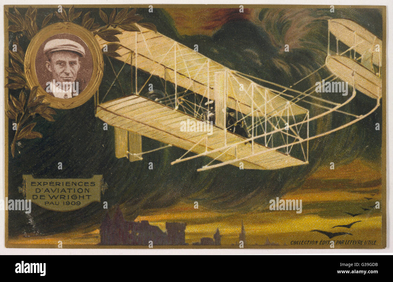 Wilbur Wright, who moved to  Pau in southern France in  1909, was a great popular  success in France and featured - Stock Image