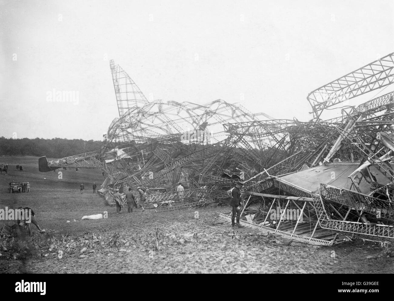 THE R.101  : badly designed,  inadequately tested and  overloaded, the airship  crashes near Beauvais, France,  - Stock Image