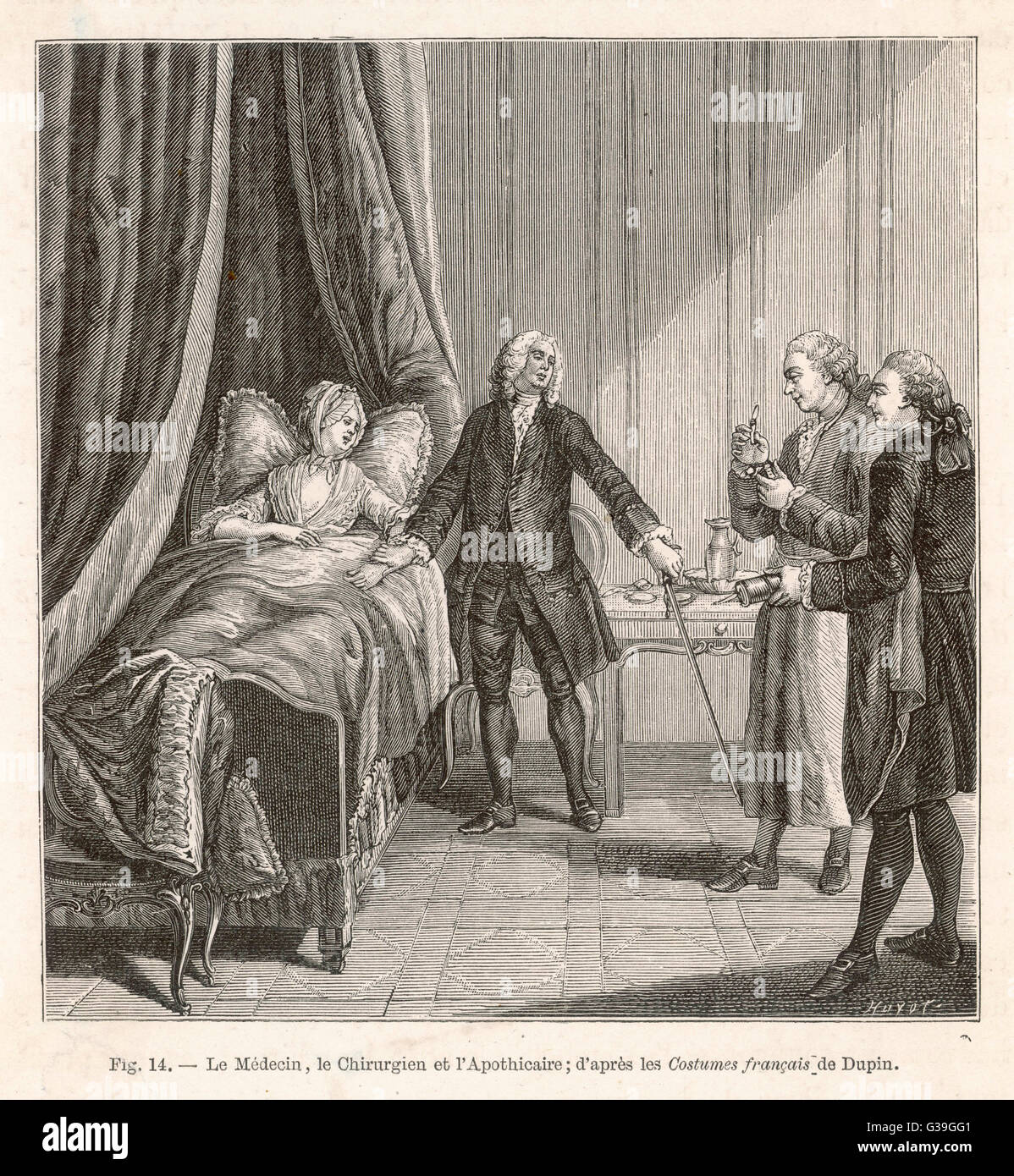 French doctor, surgeon and  apothecary with their patient         Date: 18th century Stock Photo