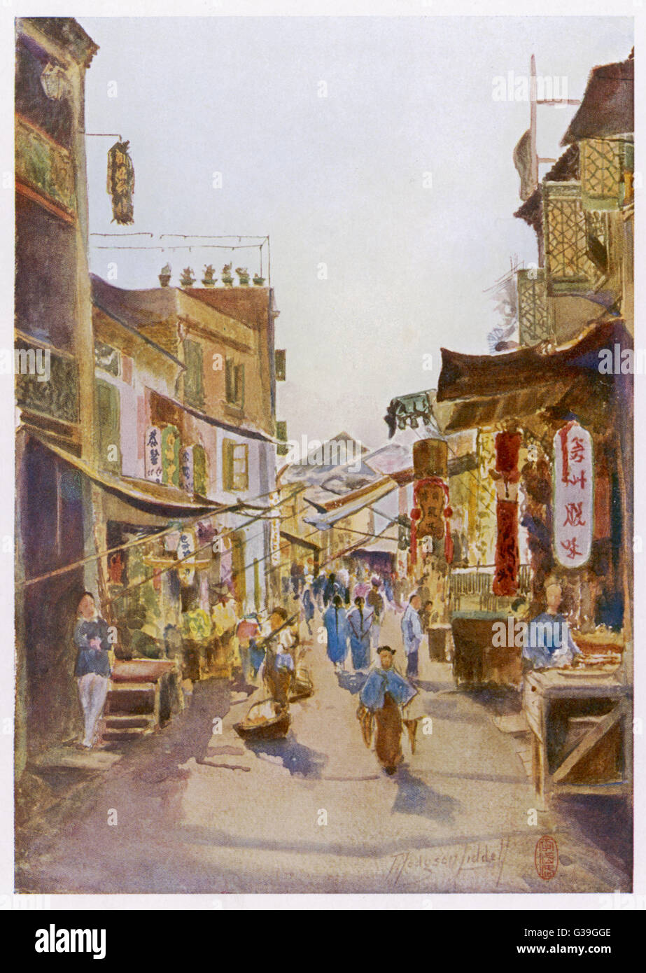 STREET SCENE with shops  and passers-by, awnings  and hanging signs       Date: 1909 - Stock Image