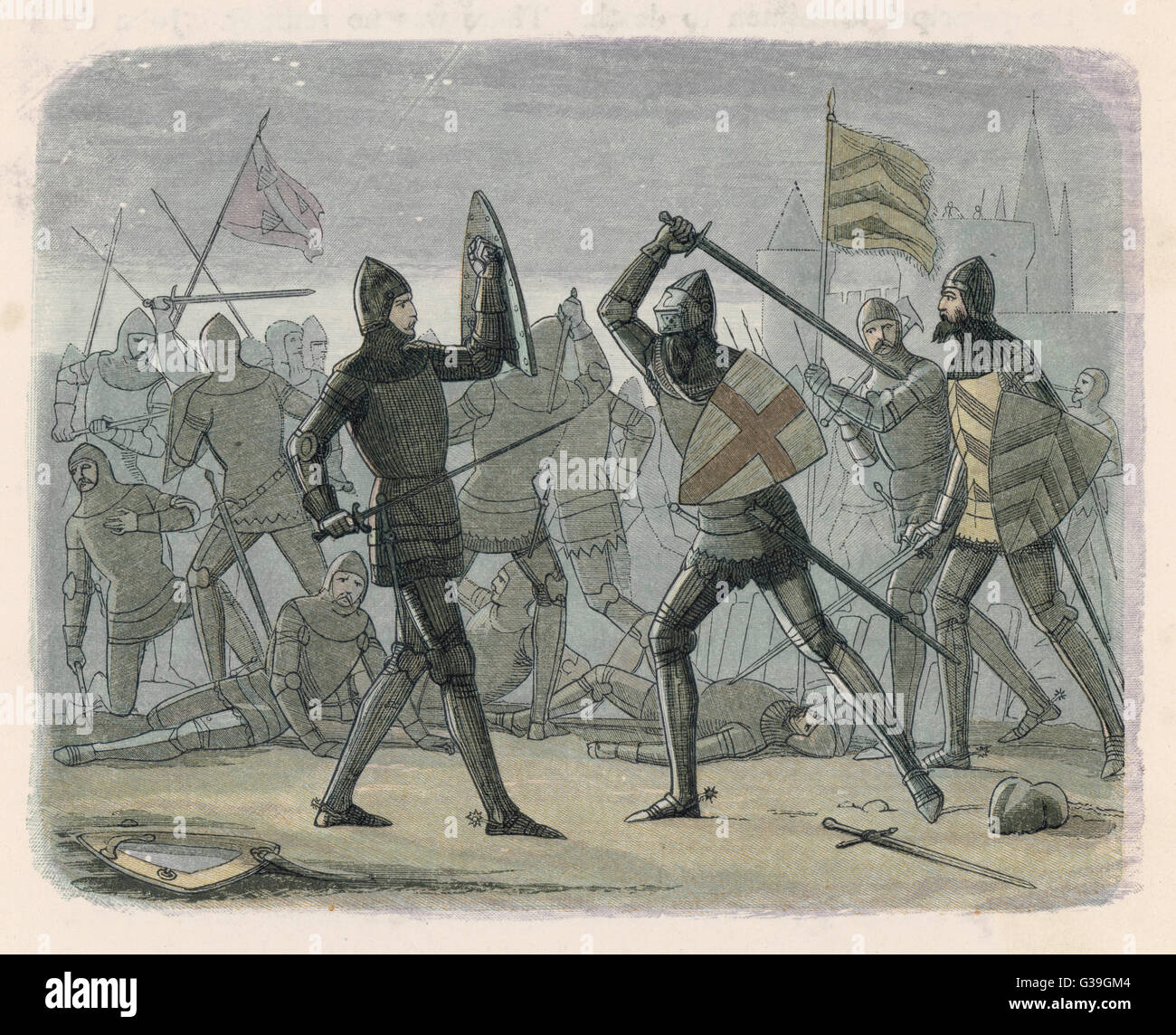 Edward III relieves Calais Date: 1348 - Stock Image