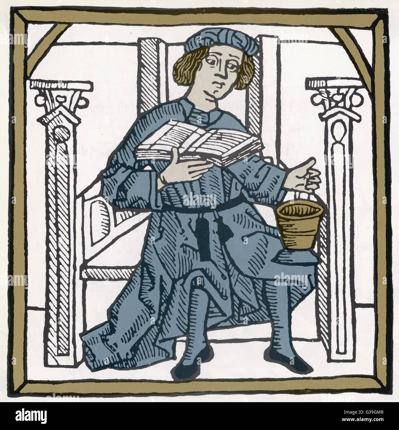 A medieval apothecary          Date: circa 14th century Stock Photo
