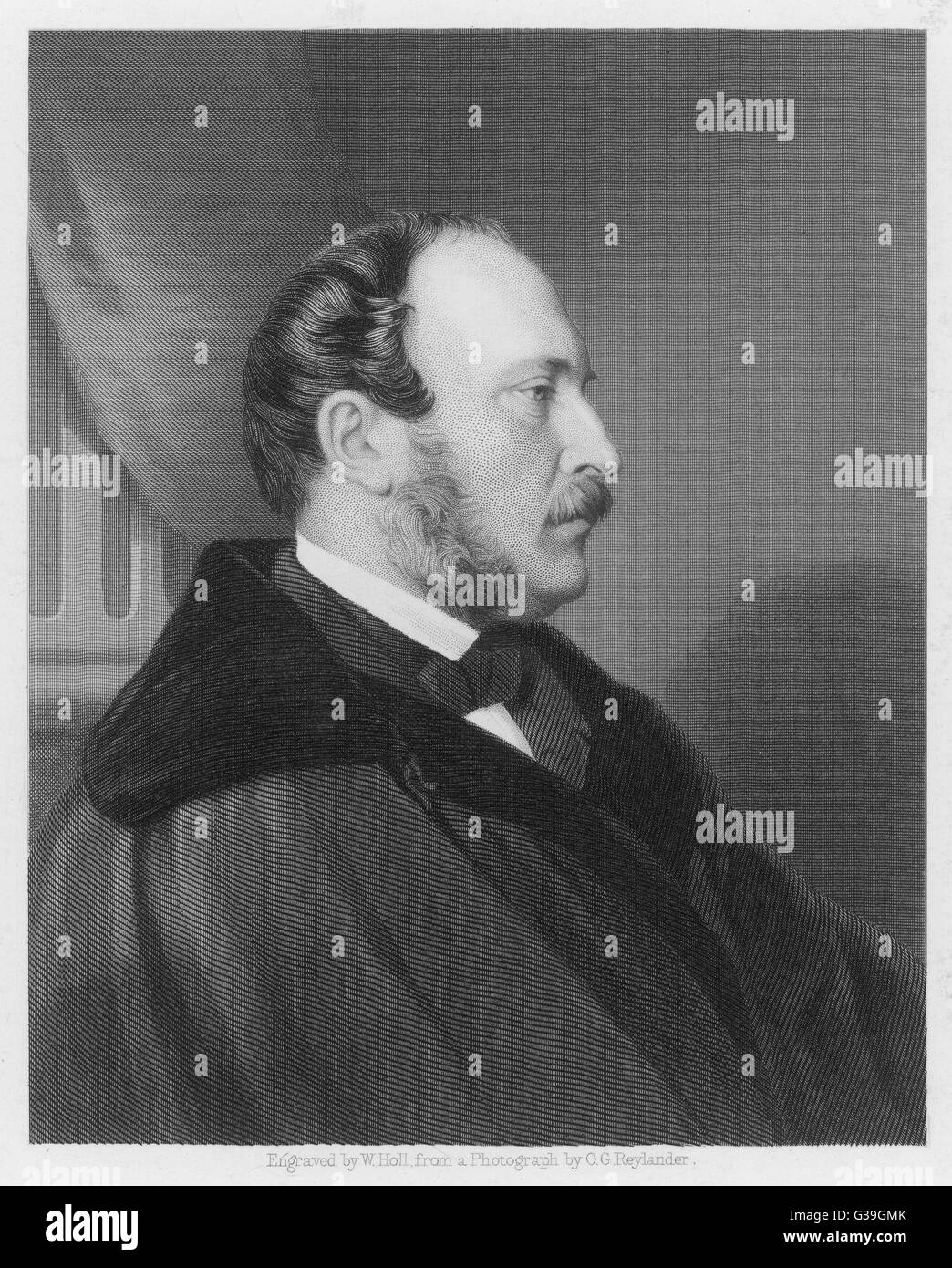 PRINCE ALBERT, CONSORT OF  QUEEN VICTORIA   Engraving of the distinguished  profile of Prince Albert.     Date: - Stock Image
