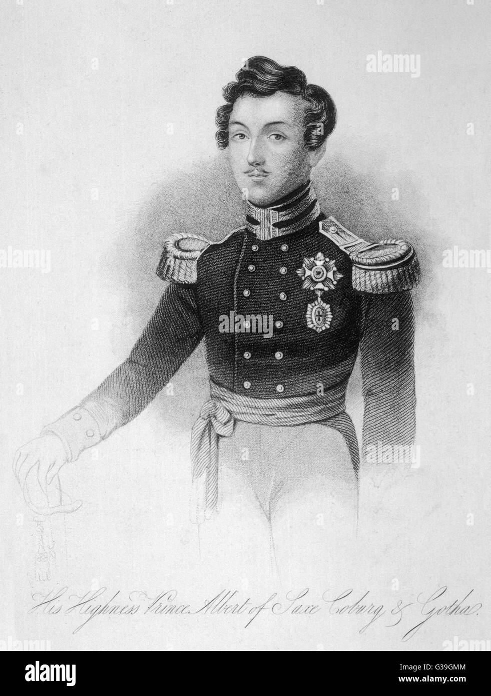 PRINCE ALBERT, CONSORT OF  QUEEN VICTORIA  Engraving of the handsome  young prince 3 years before  his marriage - Stock Image