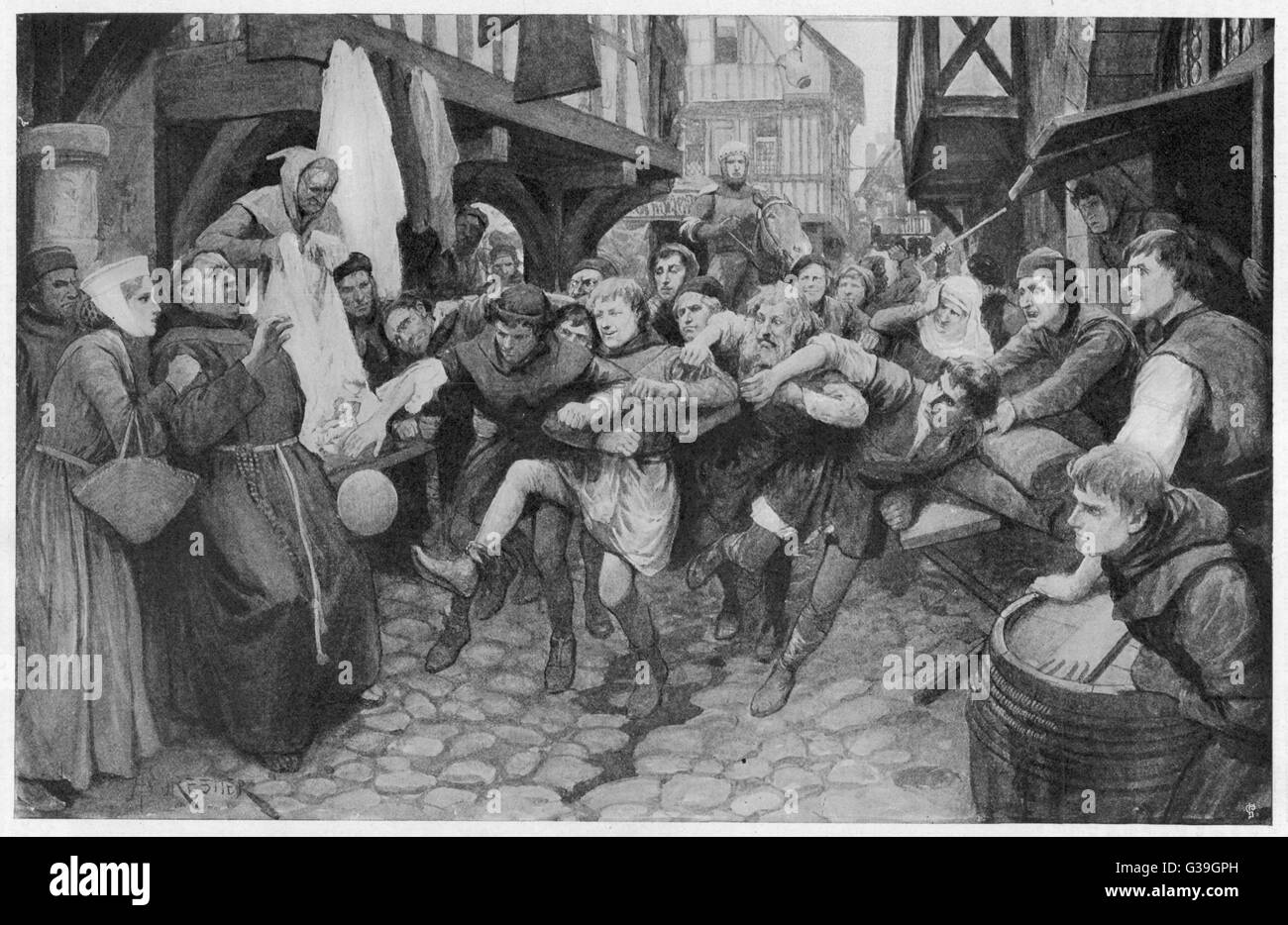 Football played in the street  during the Middle Ages         Date: circa 16th century - Stock Image