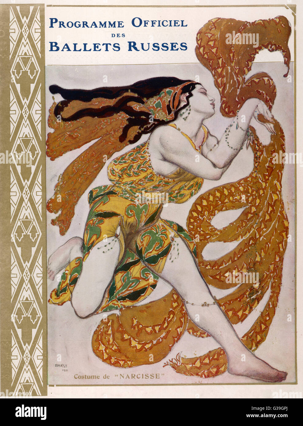 NARCISSE Cover for the offical  programme of Narcisse       Date: 1911 - Stock Image