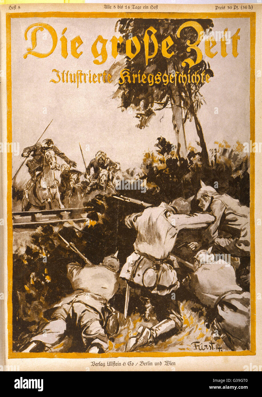 German infantry are attacked  by Indian cavalry         Date: 1914 - Stock Image