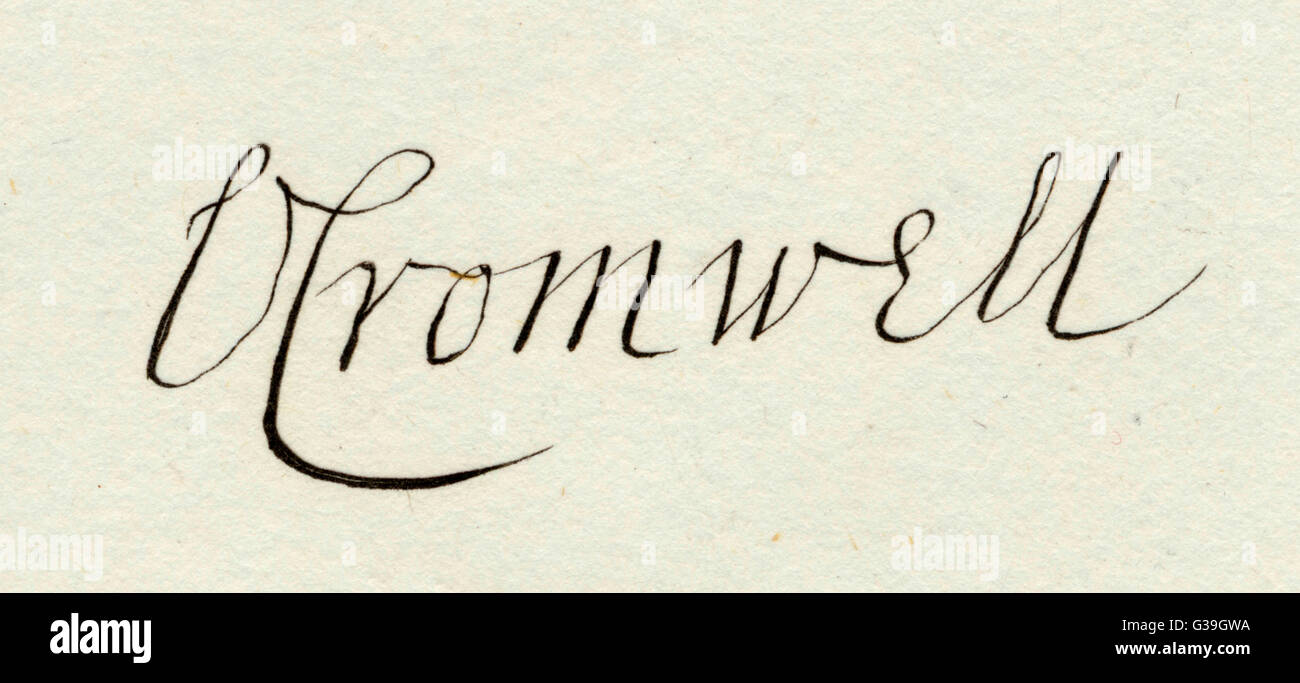 The autograph of  Oliver Cromwell. - Stock Image