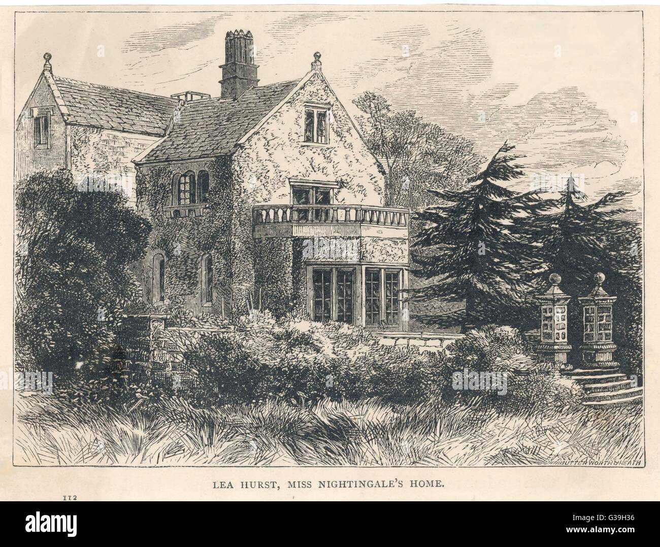 FLORENCE NIGHTINGALE  Her home at Lea Hurst        Date: 1820 - 1910 - Stock Image