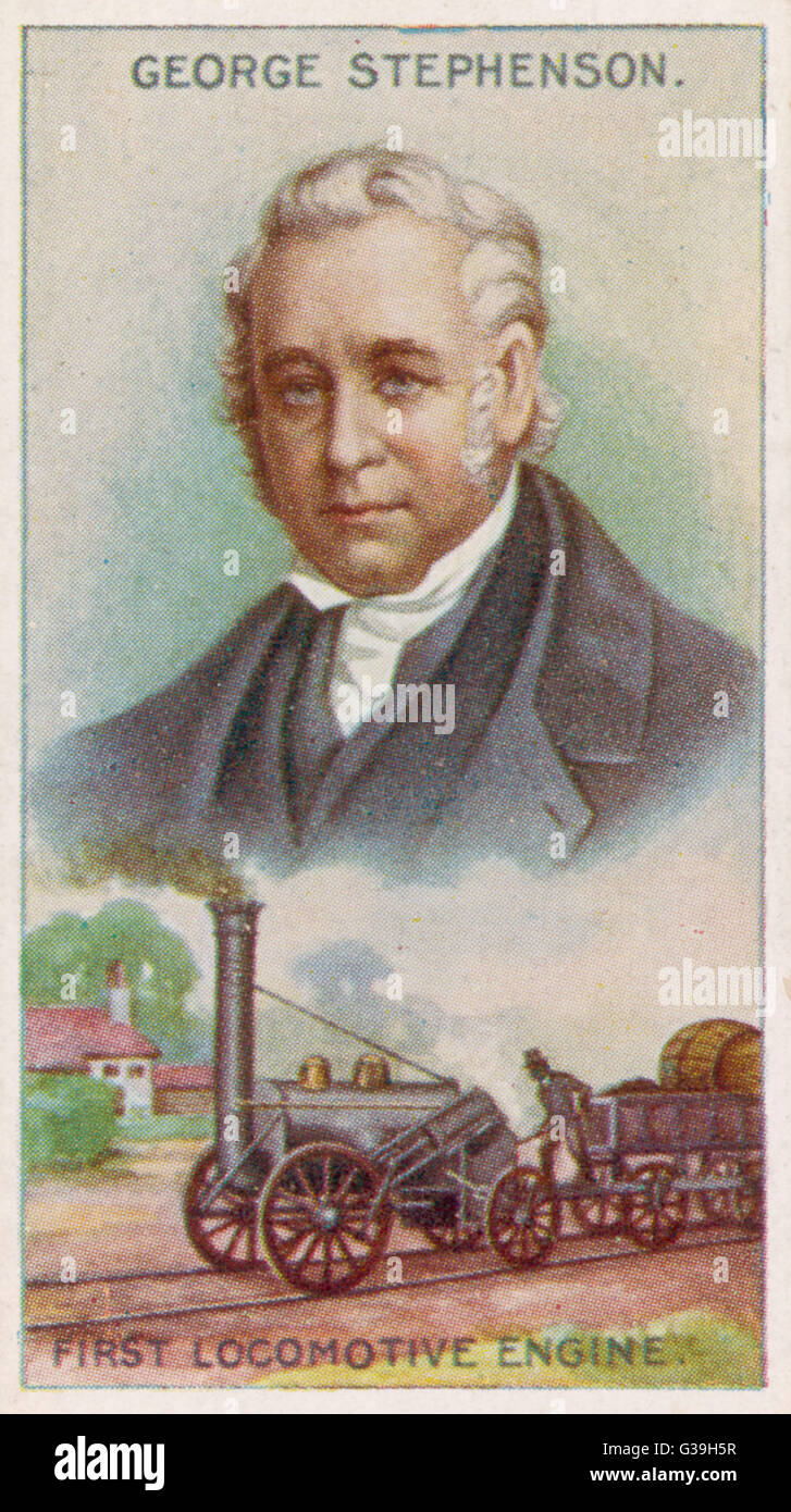 GEORGE STEPHENSON  Engineer, pictured with the first locomotive engine      Date: 1781 - 1848 - Stock Image