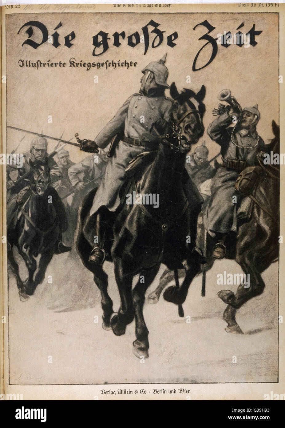 A German cavalry charge          Date: 1915 - Stock Image