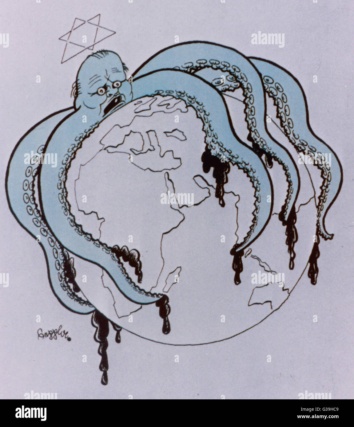 A Nazi propaganda poster  showing Churchill as a Jewish  octopus with his tentacles  around the globe.      Date: - Stock Image
