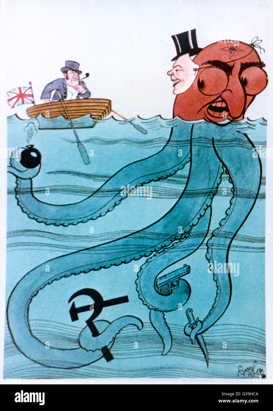 A Nazi propaganda poster  claiming that John Bull is  being fooled by the Jewish  octopus of Bolshevism       Date: Stock Photo