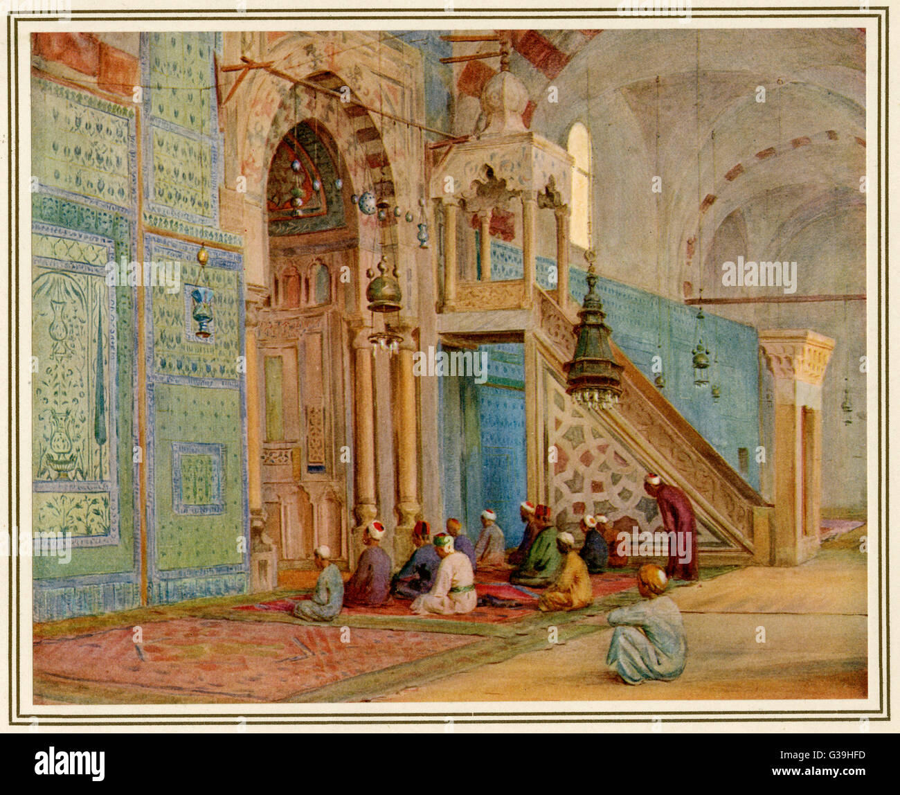 Moslems at prayer in the Blue  Mosque, Cairo (Egypt)         Date: 1912 - Stock Image