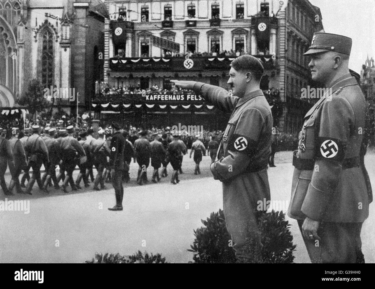 Nazis march past Hitler at  Leipzig.         Date: 1933 - Stock Image