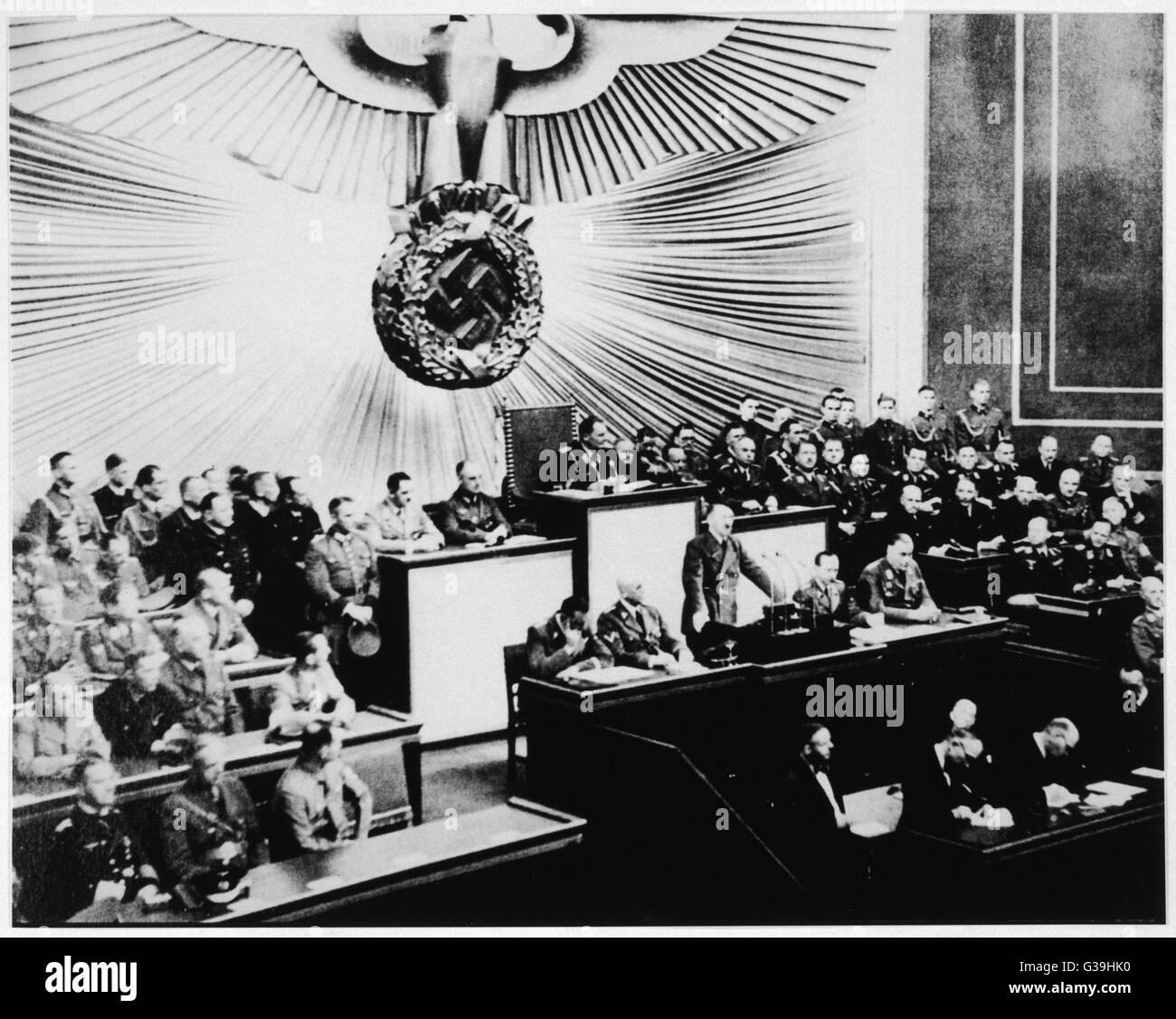Adolf Hitler's speech to the  Reichstag.         Date: 1 September 1939 - Stock Image