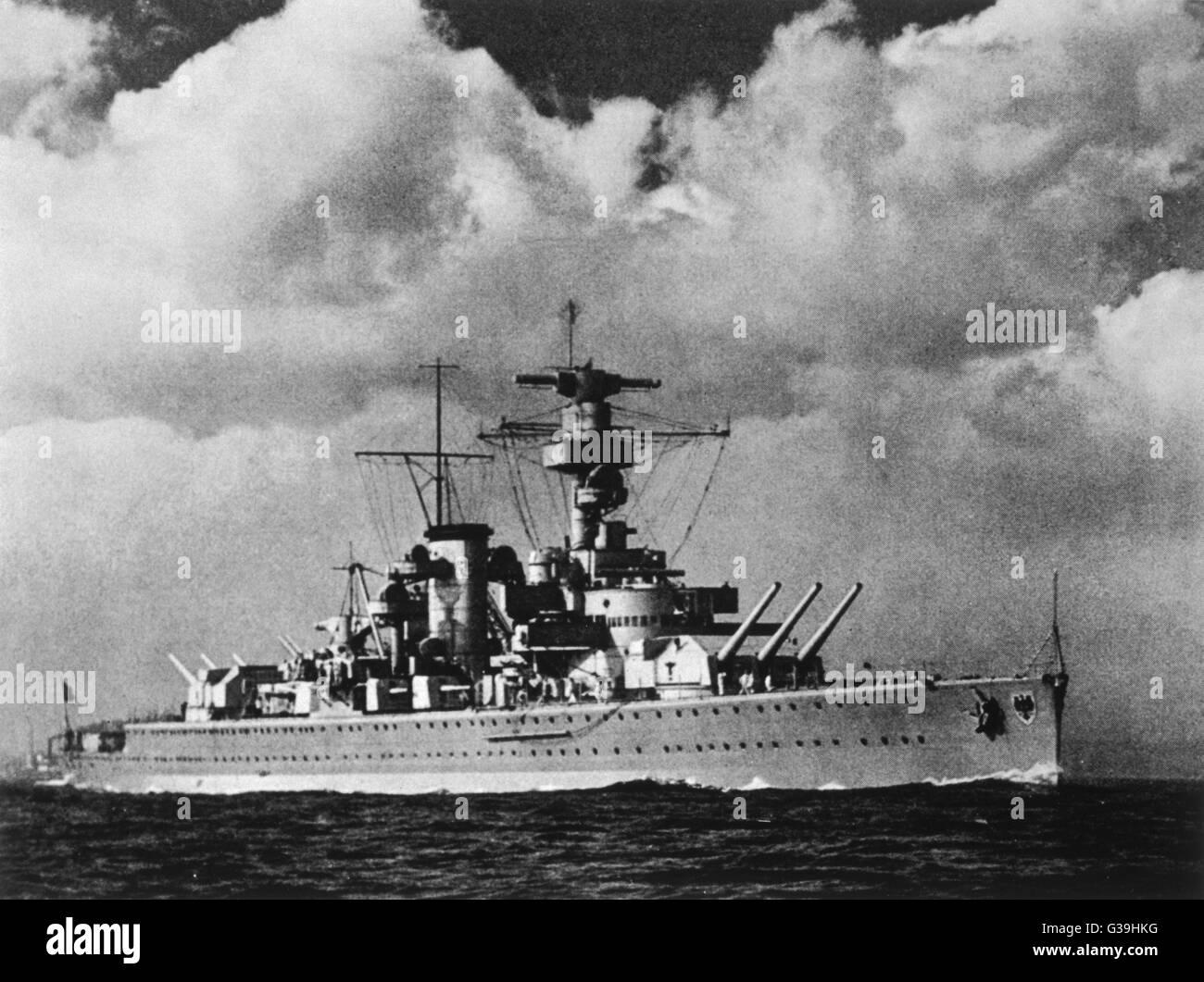 German battleship of  World War Two        Date: 1939 - Stock Image