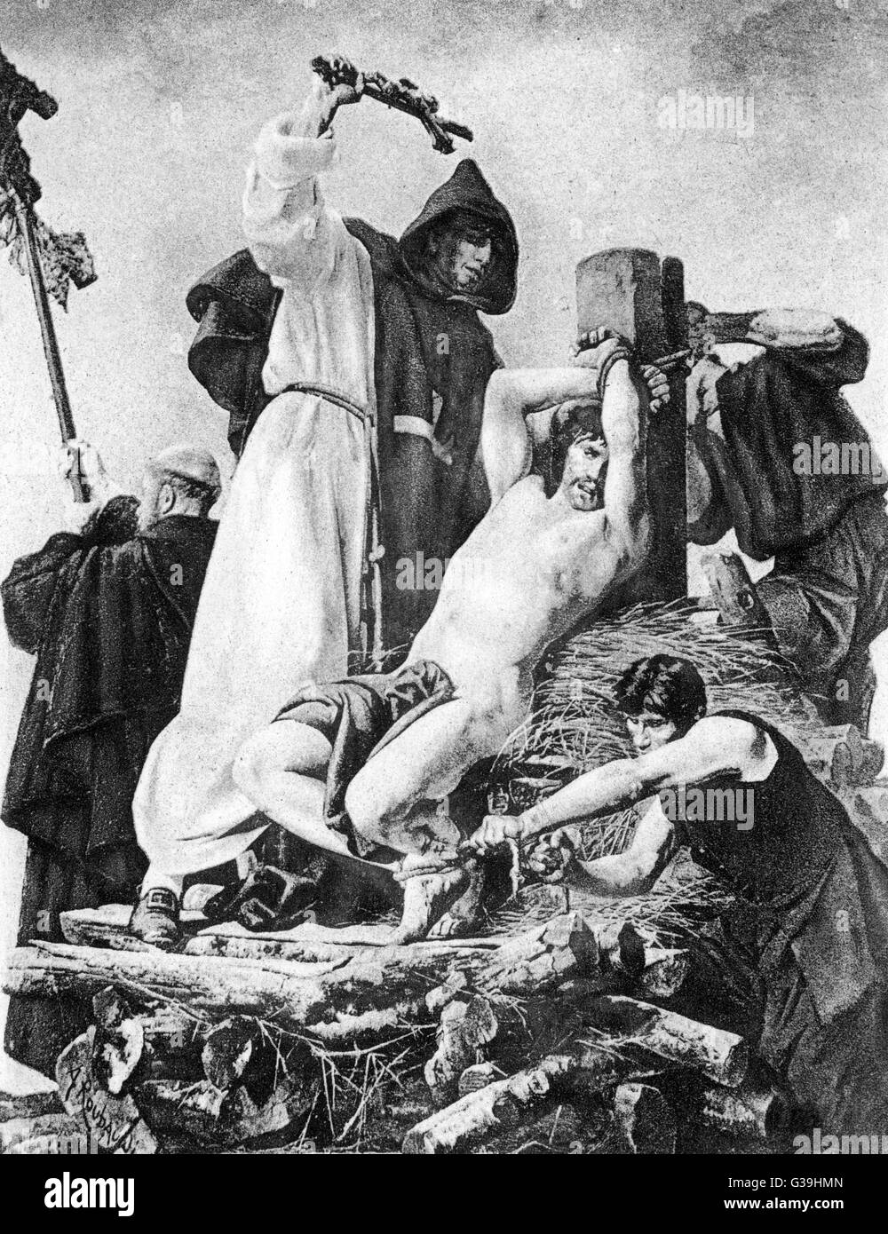 Priest Urbain Grandier is  tortured and cruelly burnt on  the basis of accusations of  licentious behaviour by a - Stock Image