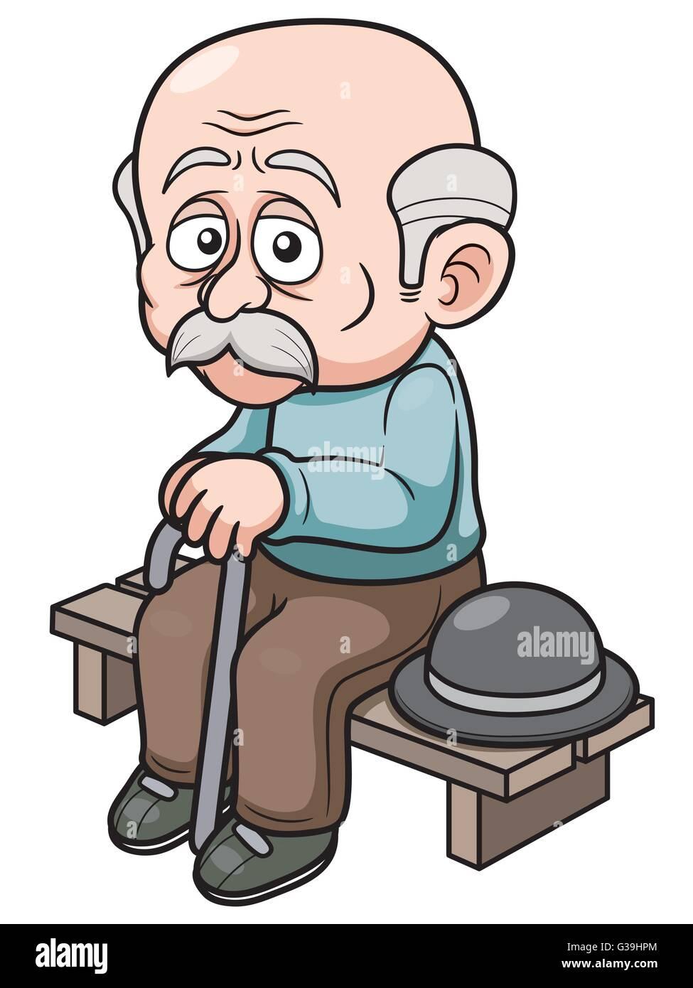 vector illustration of cartoon old man sitting bench stock vector rh alamy com Happy Old Man Cartoon Happy Old Man Cartoon