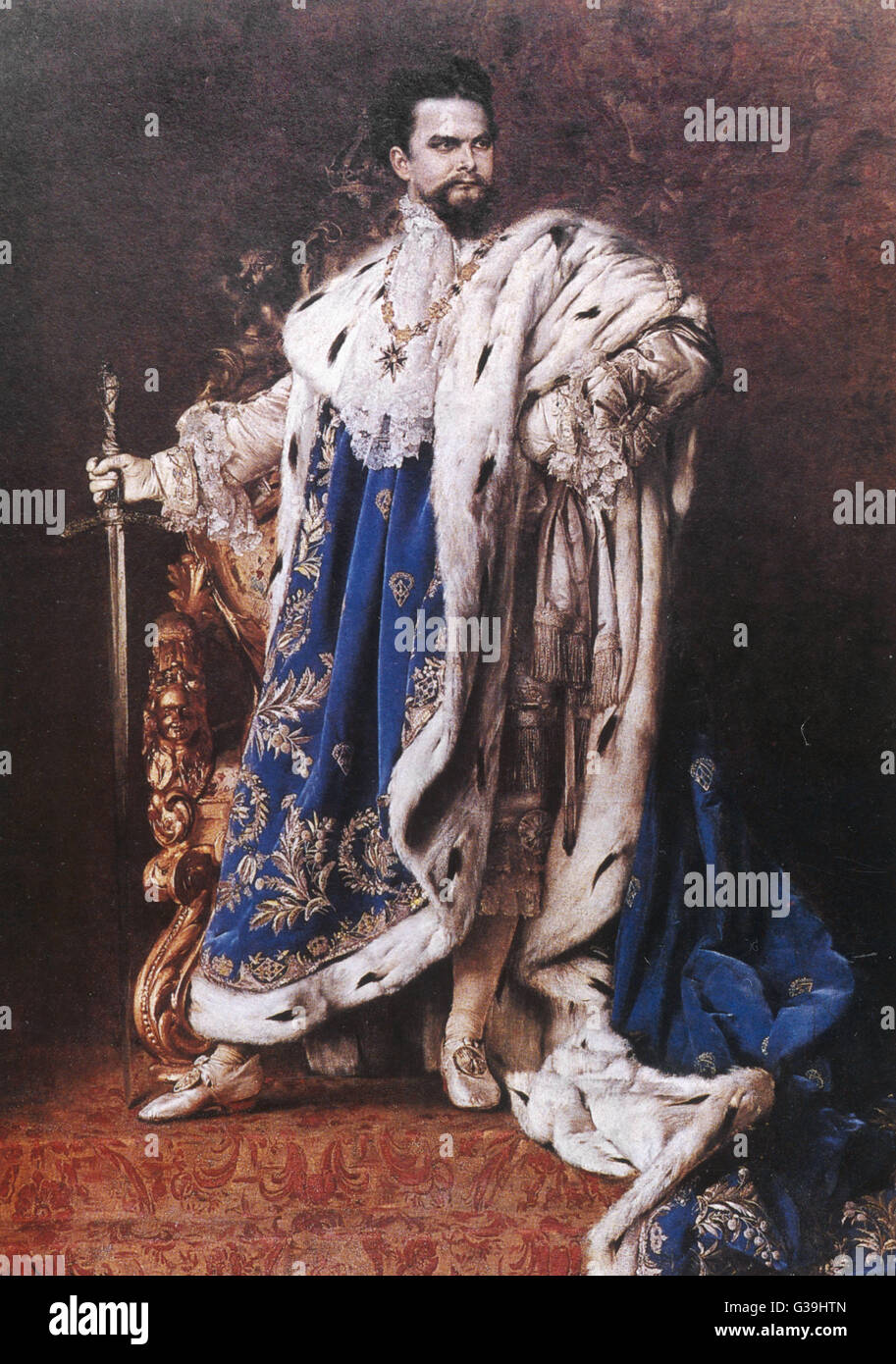 KING LUDWIG II OF BAVARIA  Reigned from March 1864 until June 1886       Date: 1845 - 1886 - Stock Image