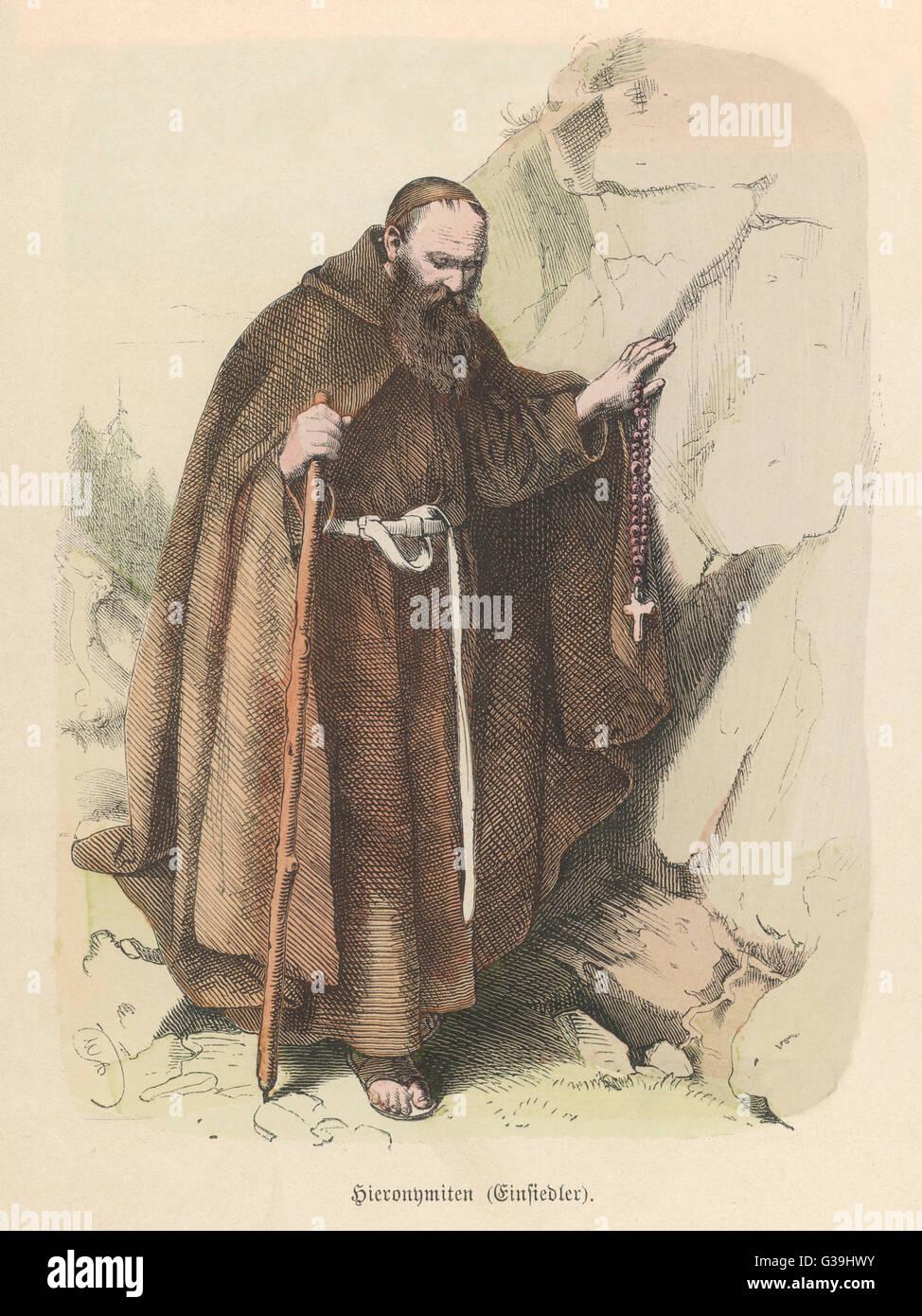Hermit of Einsiedeln, Switzerland         Date: circa 1850 - Stock Image