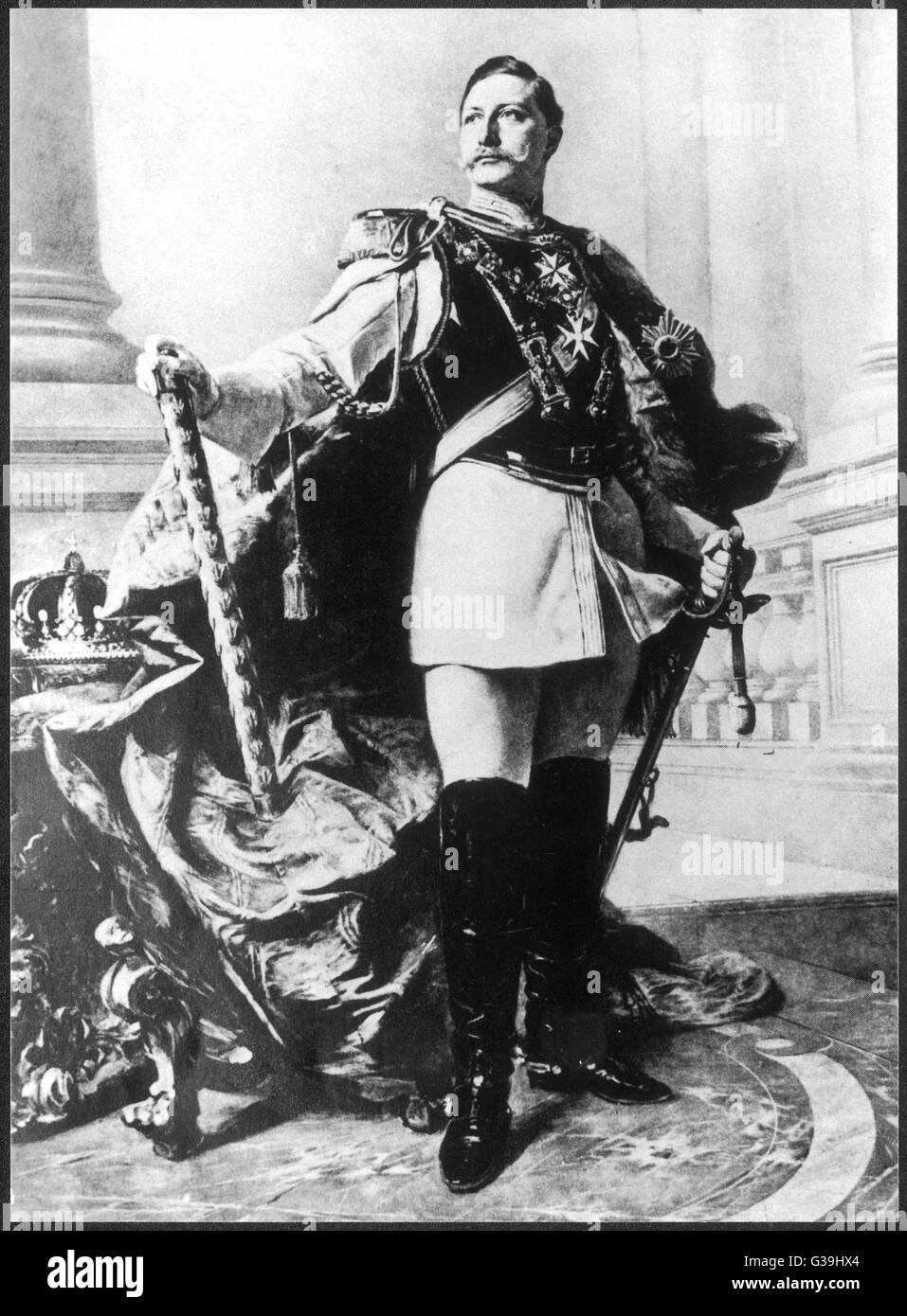 WILHELM II GERMAN ROYALTY  German Emperor in  majestic pose       Date: 1859 - 1941 - Stock Image