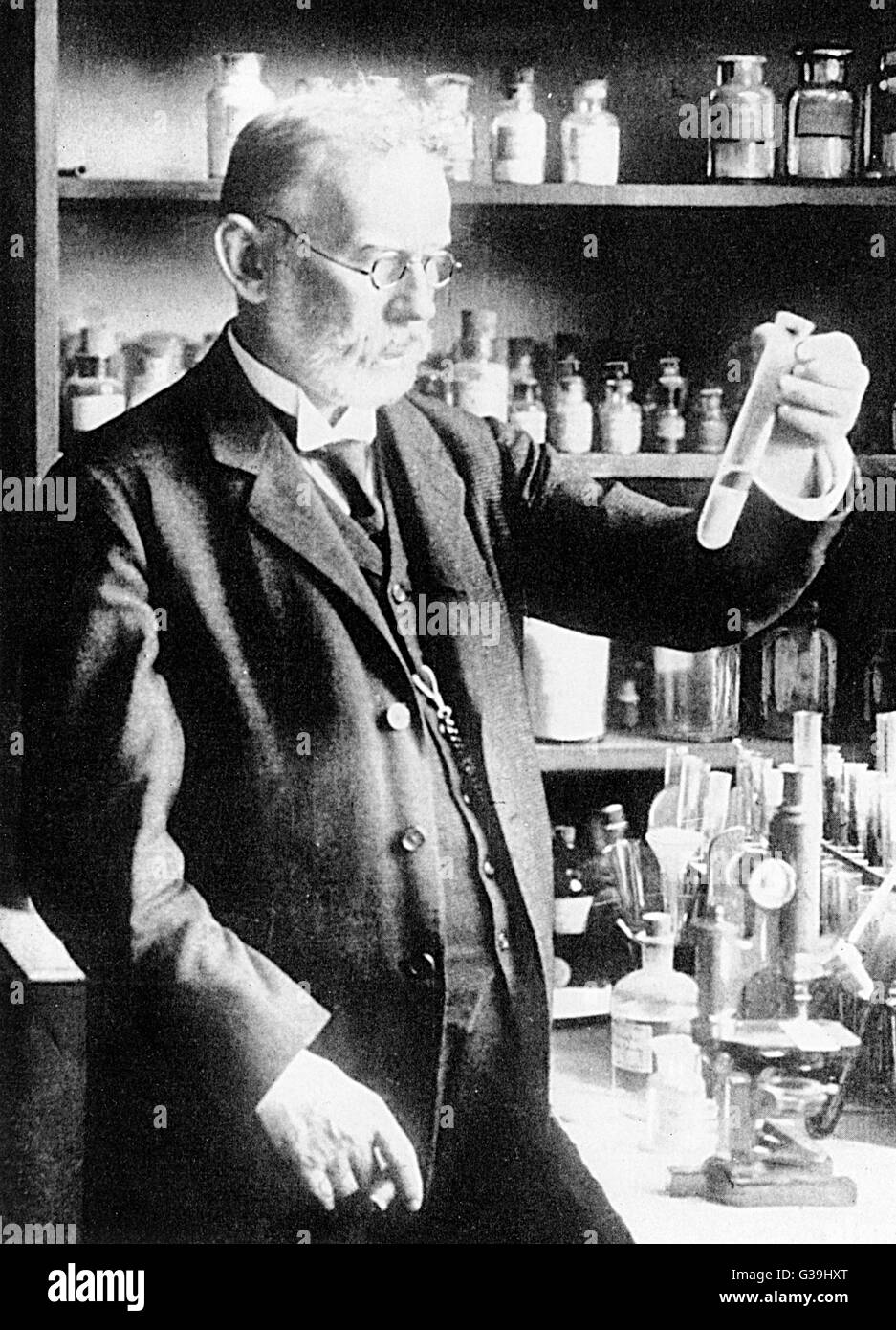 PAUL EHRLICH  German bacteriologist and Nobel prize winner in 1908,  working in his laboratory      Date: 1854  - Stock Image
