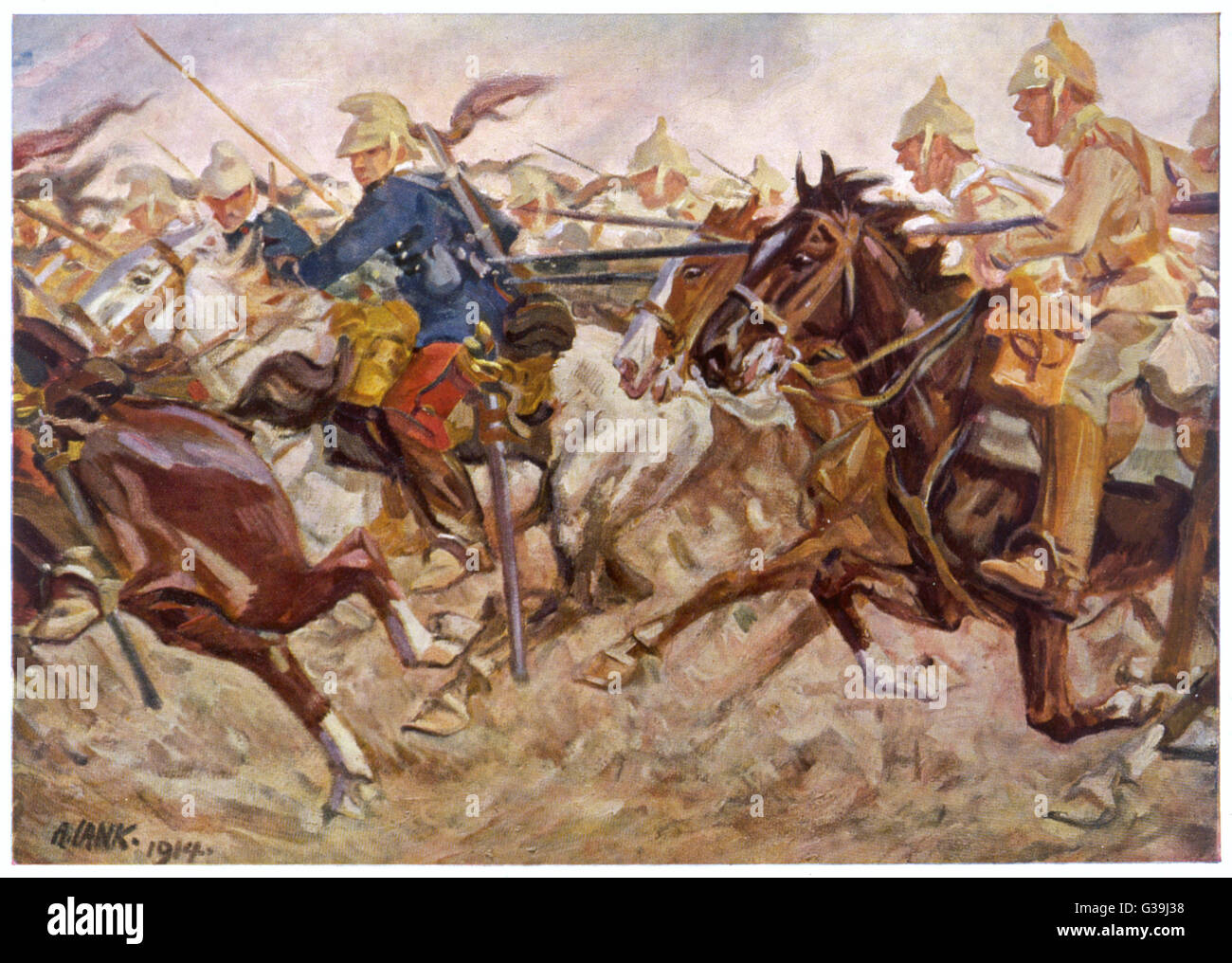 French cavalry retreat from a  German attack         Date: 1914 - Stock Image