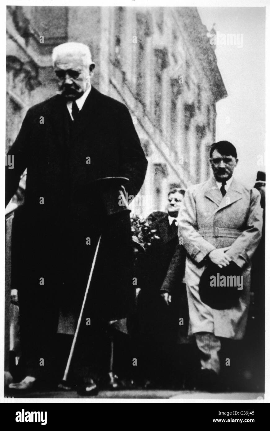 PAUL VON HINDENBURG With Hitler in 1933         Date: 1847-1934 Stock Photo