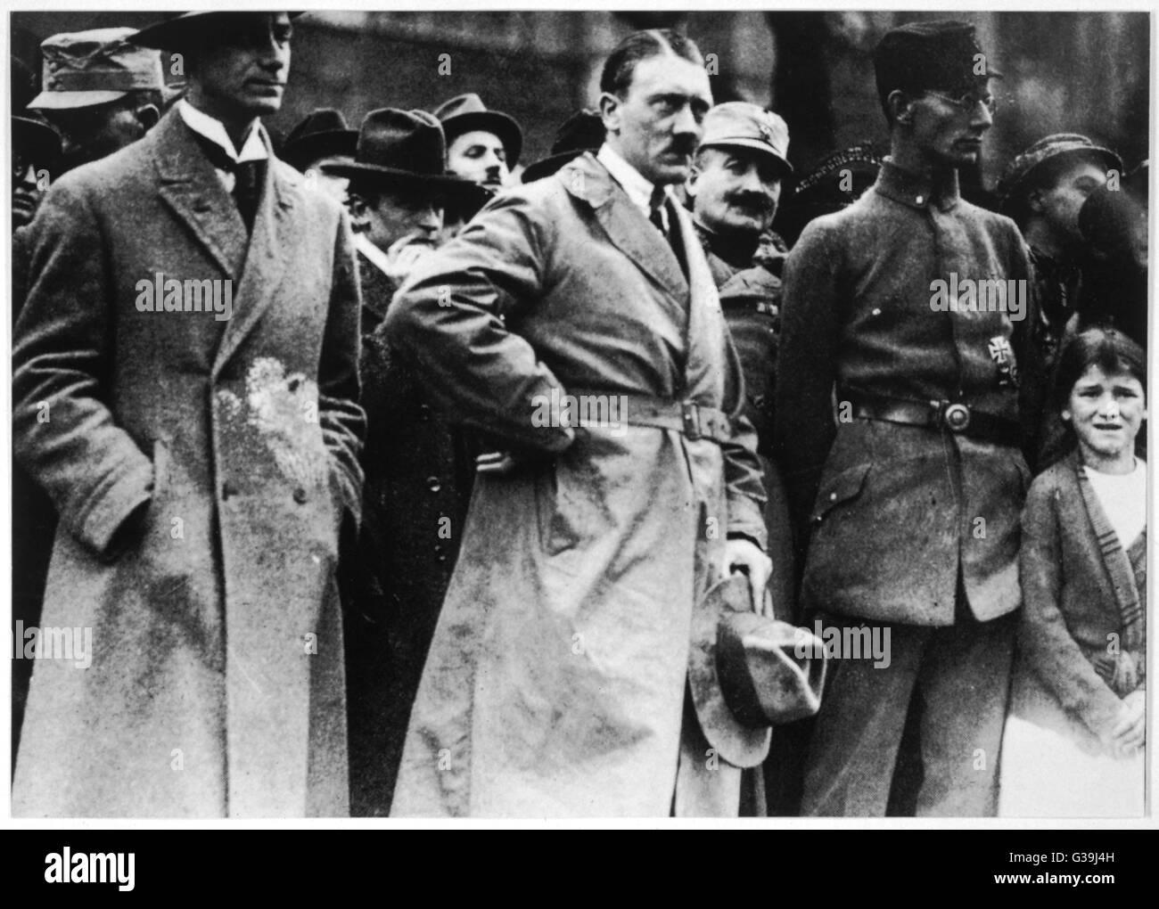 ALFRED ROSENBERG Rosenberg (left) with Hitler  in 1923        Date: 1893 - 1946 - Stock Image