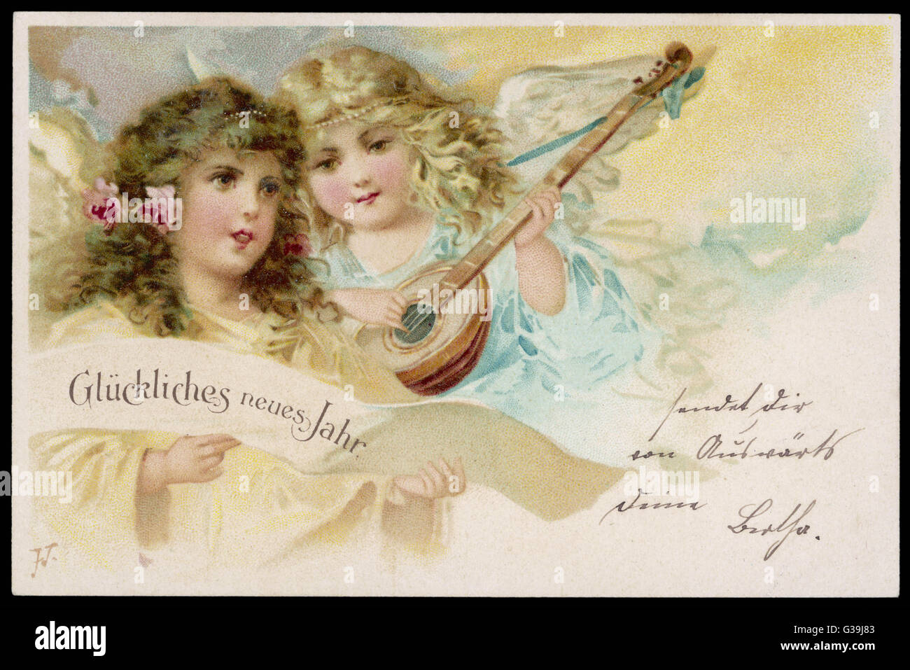 Two angels sing New Year  wishes to you in German         Date: circa 1905 - Stock Image