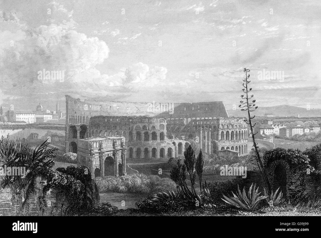 view from the Palace  of the Caesars         Date: circa 1840 - Stock Image